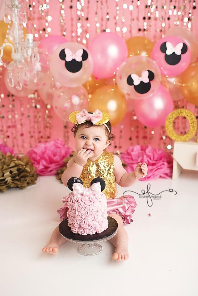 Mini Mouse Glam Smash Cake Photography Session CT Smash Cake Photographer