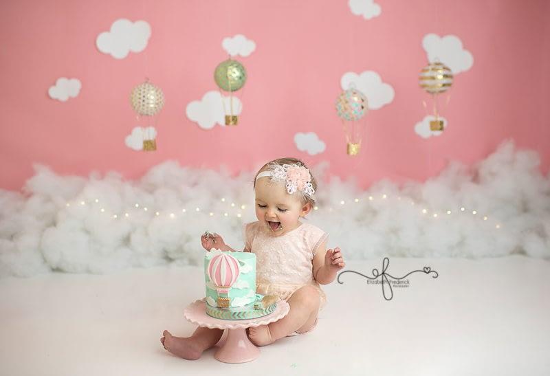 Hot Air Balloon Themed Smash Cake Photography session | First Birthday Photography | First Birthday Photos | Smash Cake Photography in CT | CT Smash Cake Photographer Elizabeth Frederick Photography