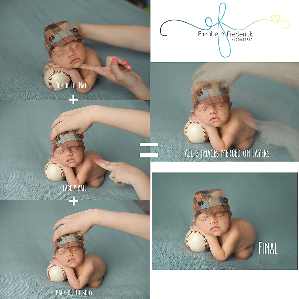 Sample composite image of newborn baby posed safely on a baseball