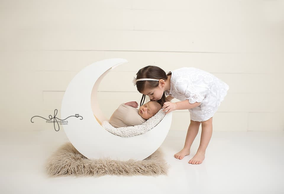 Sibling Photo Moon Prop CT Newborn Photographer Elizabeth Frederick Photography