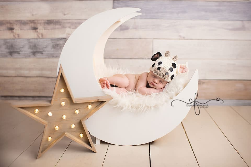 Farm Themed Newborn Session | Cow Jumped over the moon Newborn Session | Moon Prop | Newborn Photography | Moon Newborn Photography | CT