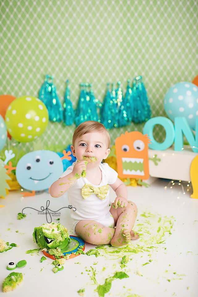 Little Monster Smash Cake First Birthday CT Smash Cake Photographer Elizabeth Frederick Photography.