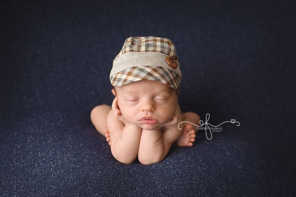 Newborn Farmer | Newborn Demin | Newborn Bandana | Newborn Overalls | Farm Newborn Session | Newborn in a basket | Newborn wire basket | Newborn Photography Ideas | CT Newborn Photographer Elizabeth Frederick Photography www.elizabethfrederickphotography.com