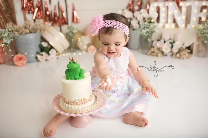 First Birthday Photos | Princess & Frog Themed Smash Cake Session | Garden Party Smash Cake | CT Smash Cake Photographer Elizabeth Frederick Photography