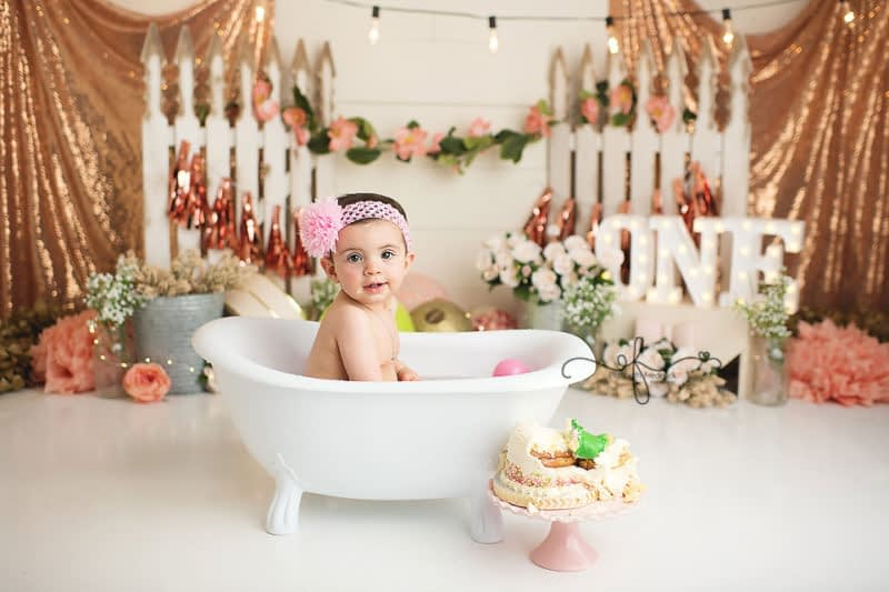 Bath Splash | First Birthday Photos | Princess & Frog Themed Smash Cake Session | Garden Party Smash Cake | CT Smash Cake Photographer Elizabeth Frederick Photography